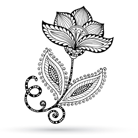 zentangle: Henna Paisley Mehndi Doodles Abstract Floral Vector Illustration Design Element.