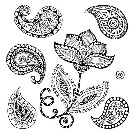 Henna Paisley Mehndi Doodles Abstract Floral Vector Illustration Design Element.