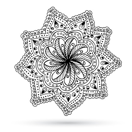 Henna Paisley Mehndi Doodles Abstract Floral Design Element. Ilustrace