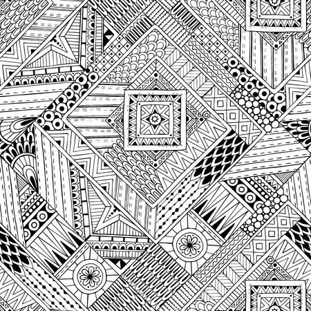 Abstract striped textured geometric tribal seamless pattern. Vector black and white background. Endless texture can be used for wallpaper, pattern fills, web page background,surface textures.  イラスト・ベクター素材