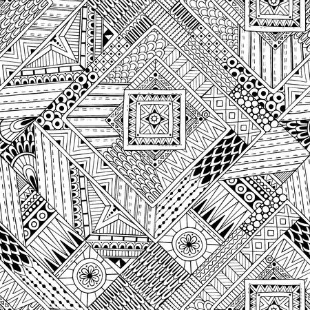 Abstract gestreept geweven geometrische tribale naadloos patroon. Vector zwart-witte achtergrond. Eindeloze textuur kan worden gebruikt voor behang, patroonvullingen, webpagina achtergrond, oppervlaktestructuren.