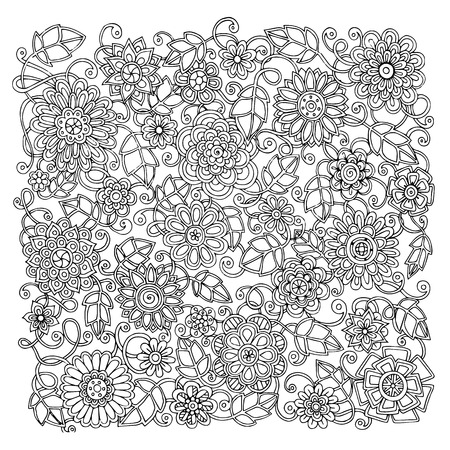 adults: Ethnic floral retro doodle background pattern circle in vector. Henna paisley mehndi doodles design tribal design element. Black and white pattern for coloring book for adults and kids. Illustration