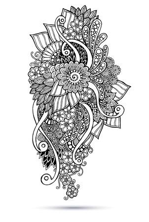 Henna Paisley Mehndi Doodles Abstract Floral Vector Illustration Design Element. Black and white version. Illustration
