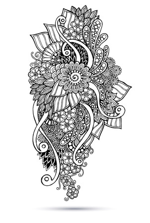 Henna Paisley Mehndi Doodles Abstract Floral Vector Illustration Design Element. Black and white version. Ilustrace