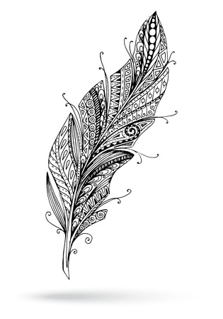 Artistically drawn, stylized, vector feather on a white background. Illustration