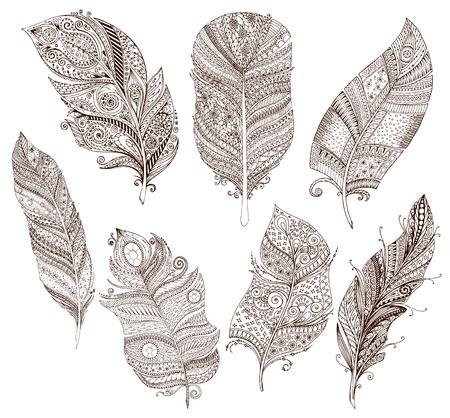 Vector set van doodle veren op een witte achtergrond.