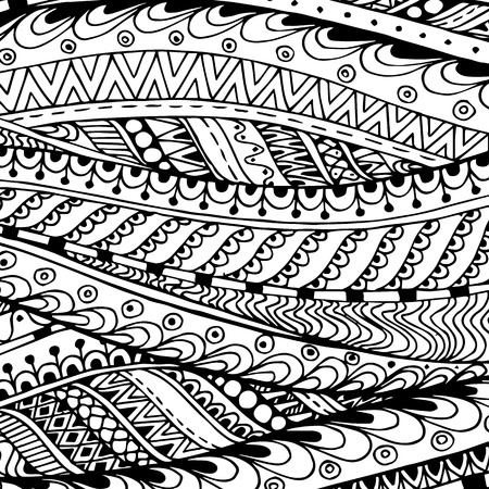 Asian ethnic doodle black and white pattern in vector.