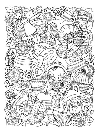 Hand-Drawn Vector Doodle Illustration. Coffee And Tea Design Template.