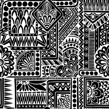 cultura maya: Seamless negro garabato �tnica y fondo blanco patr�n en el vector.
