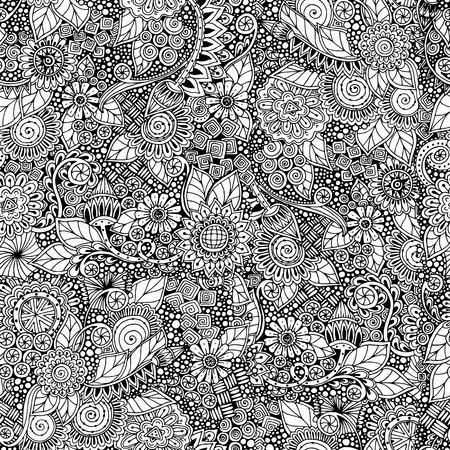 Naadloze bloemen retro doodle zwart-wit patroon in vector. Stock Illustratie