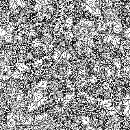 Seamless  floral retro doodle black and white pattern in vector.