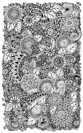 Ethnic floral retro zentangle doodle background pattern circle in vector. Çizim
