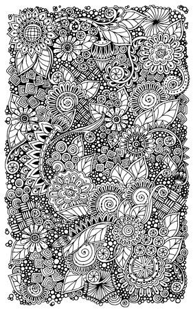 Etnische bloemen retro zentangle doodle achtergrond patroon cirkel in vector.