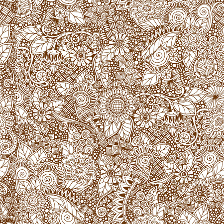 grunge pattern: Seamless floral retro doodle grunge  pattern in vector. Illustration