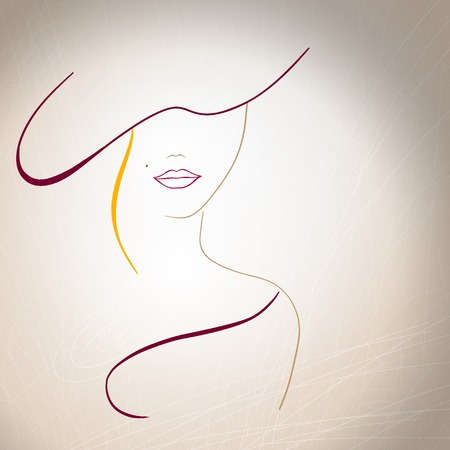 young woman face: Abstract silhouette of a woman with a mole on the lips and a hat.