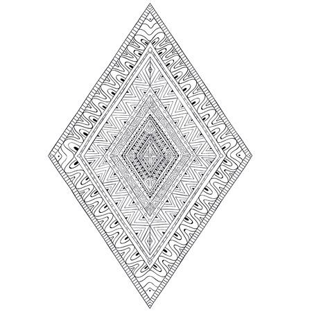 doddle: Original drawing ethnic tribal doddle rhombus 2.