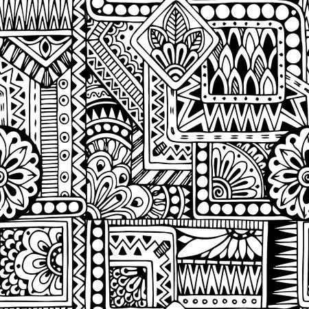 cultura maya: Seamless negro garabato étnica y fondo blanco patrón en el vector