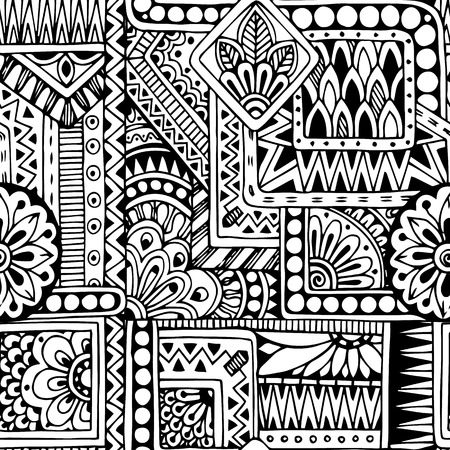 Seamless ethnic  doodle black and white background pattern in vector