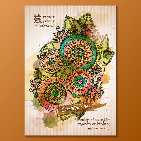 blumen abstrakt: Vektor-Vorlage Poster mit Aquarellfarbe und florale abstrakten Hintergrund.