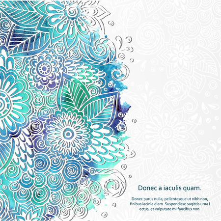 disegni cachemire: Motivo Libro bianco Doodle 3D Con forma del cerchio.