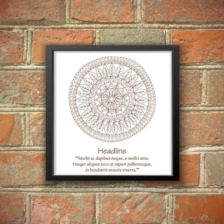 Monochrom mandala in black frame on the brick wall.