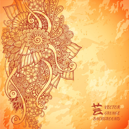 red indian: Template poster with doodle flowers and paisley for your business.