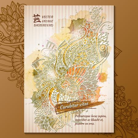 blumen abstrakt: Vektor-Vorlage Poster mit Aquarell malen. Ink florale abstrakten Hintergrund.