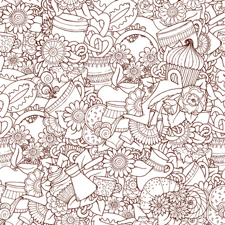 Coffee And Tea Design Template Grunge Doodle Pattern Background. Illustration