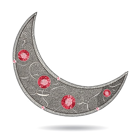 islam moon: Graphic decorative moon with red rubies on the white background. Layered vector.