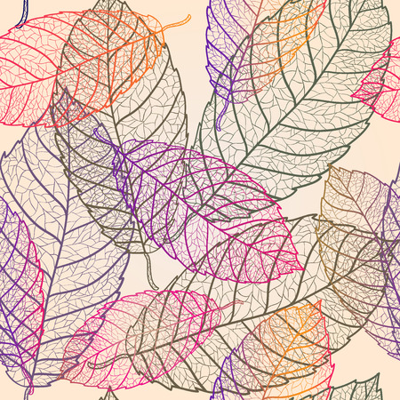 fabric art: Colored art vector autumn leaves pattern.  Fabric texture. Floral vintage design.