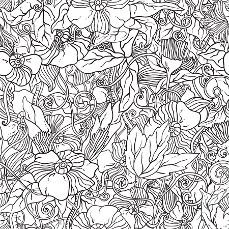 Seamless black and white pattern with flowers. Ornate zentangle texture, endless pattern with abstract flowers. Pattern can be used for wallpaper, pattern fills, web page background, surface textures.