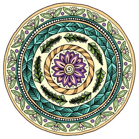 ベクトル マンダラ。ヴィンテージの装飾的な要素。あなたのデザインは、レース飾りの装飾。ラウンド パターン、オリエンタル スタイル。手描き  イラスト・ベクター素材