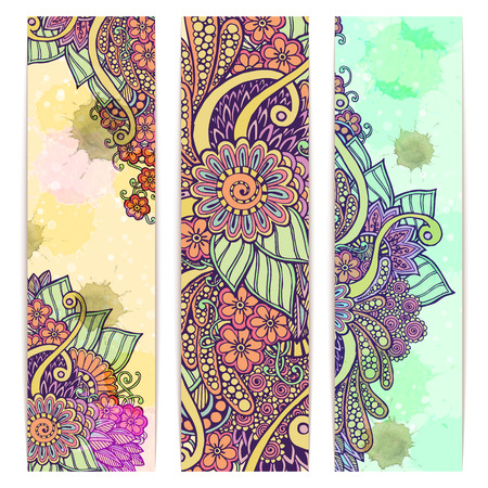 ペイズリー バティック背景。3 抽象的なエスニック インド手描きのベクトル カードのセットです。イメージ カード用テンプレート フレーム デザイ