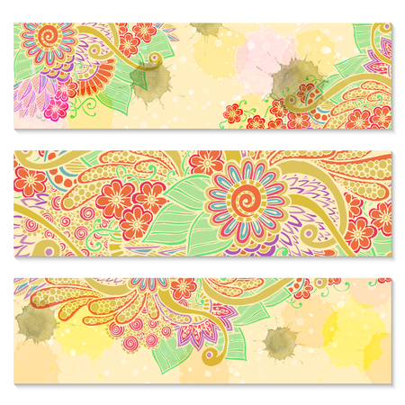 batik pattern: Paisley batik background. Set of three abstract ethnic indian hand drawn vector cards. Series of image Template frame design for card. Illustration