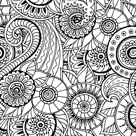 on a white background: Seamless asian ethnic floral retro doodle black and white background pattern in vector. Henna paisley mehndi doodles design tribal pattern.