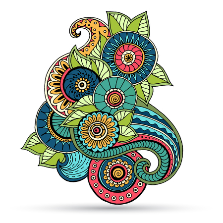 Ethnic floral zentangle, doodle background pattern circle in vector. Henna paisley mehndi doodles design tribal design element. Illustration
