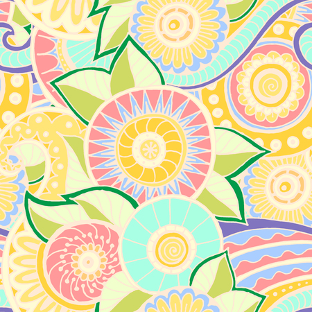 Seamless pattern with flowers. Ornate zentangle texture, endless pattern with abstract flowers. Seamless pattern can be used for wallpaper, pattern fills, web page background, surface textures.
