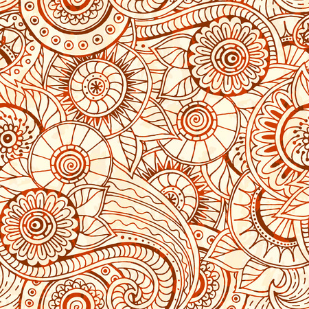 grunge wallpaper: Seamless pattern with flowers. Ornate zentangle texture, endless pattern with abstract flowers. Seamless grunge pattern can be used for wallpaper, pattern fills, web page background, surface textures.