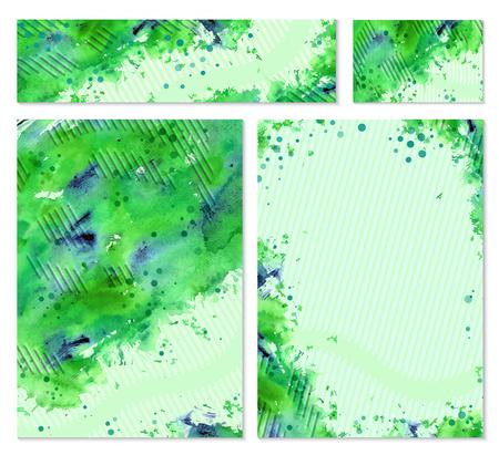 personalausweis: Sammlung von Vektor-Vorlage Corporate Identity. Business-Kunstwerke mit Aquarell Splash. Hintergrund für das Web, gedruckte Mediendesign. Banner, Visitenkarten, Flyer, Einladungen, Grußkarte, Postkarte.