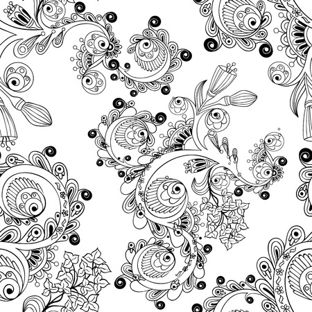 Doodle background in vector with doodles, flowers and paisley. Seamless vector ethnic pattern can be used for wallpaper, pattern fills, coloring books and pages for kids and adults. Black and white.