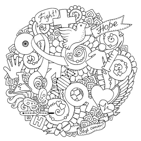 rak: Świadomość piersi Miesiąc czarno-białe ilustracja Doodle. Tło medyczne z wstążki, gołąb, kobiet i mężczyzn ikon, serce, streszczenie piersi, Medycyna butelki i pastylki.