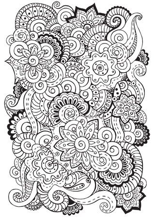 color pages: Doodle background in vector with doodles, flowers and paisley. Vector ethnic pattern can be used for wallpaper, pattern fills, coloring books and pages for kids and adults. Black and white.