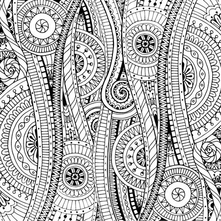 colouring: Doodle background in vector with doodles, flowers and paisley. Vector ethnic pattern can be used for wallpaper, pattern fills, coloring books and pages for kids and adults. Black and white.
