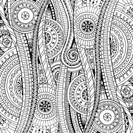 Fondo del Doodle en el vector con doodles, flores y Paisley. Vector patrón étnica se puede utilizar para el papel pintado, patrones de relleno, libros para colorear y páginas para niños y adultos. Blanco y negro.