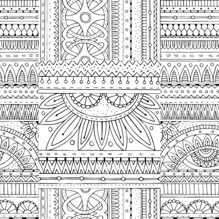 Zentangle background in vector with tribal doodles. Seamless vector ethnic pattern can be used for wallpaper, pattern fills, coloring books and pages for kids and adults. Black and white.