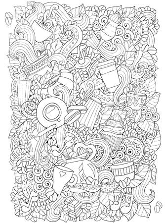 Koffie en thee doodle achtergrond in vector met paisley. Etnische zentangle patroon kan worden gebruikt voor het menu, behang, patroonvullingen, kleurboeken en pagina's voor kinderen en volwassenen. Zwart en wit. Stock Illustratie