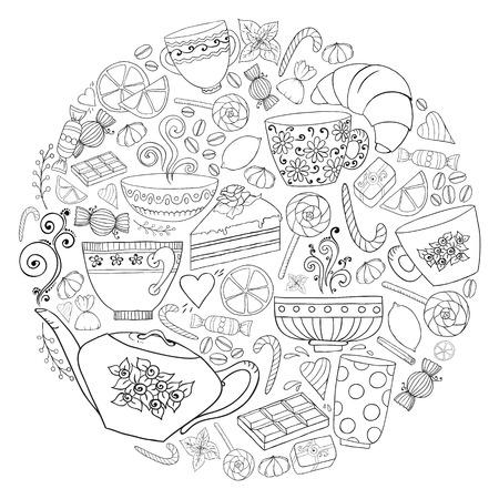 コーヒーと紅茶は落書きペイズリーとベクトルの背景です。民族 zentangle パターンは、子供と大人のメニュー、壁紙、パターンの塗りつぶし、着色書
