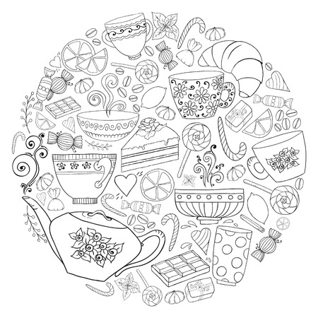 Coffee and tea doodle background in vector with paisley. Ethnic zentangle pattern can be used for menu, wallpaper, pattern fills, coloring books and pages for kids and adults. Black and white. Reklamní fotografie - 46957770