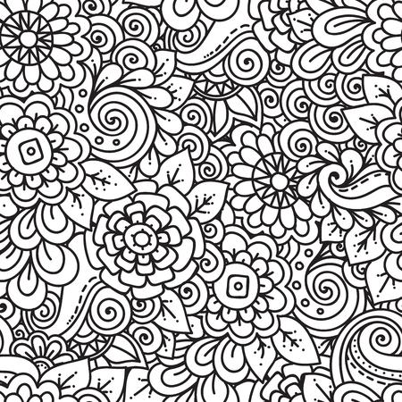 Naadloze etnische bloemen doodle zwart-wit patroon als achtergrond in vector. Henna Paisley mehndi tribal doodles design. Patroon voor het kleuren van door kinderen en volwassenen
