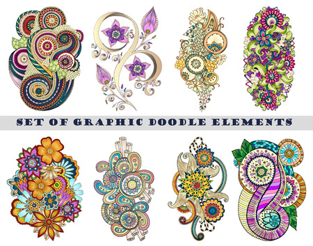 ornaments floral: Set of Henna Paisley Mehndi Doodles Abstract Floral Vector Illustration Design Element. Black and White plus Colored Version.